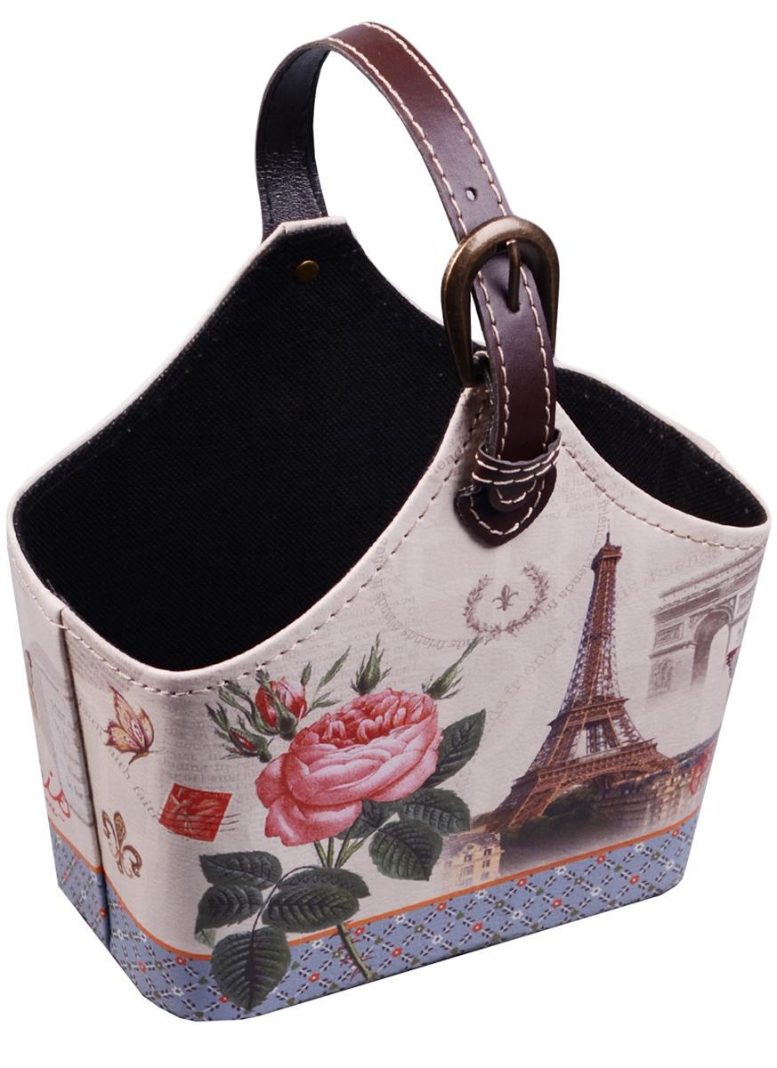 Корзинка для мелочей с ручкой Роза и Эйфелева башня (18х25)