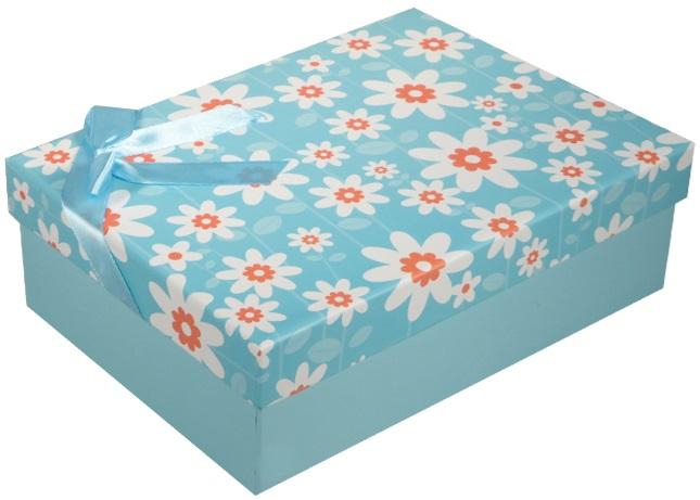 """Коробка подарочная """"Ромашки"""" голубая, 20*13*6см"""