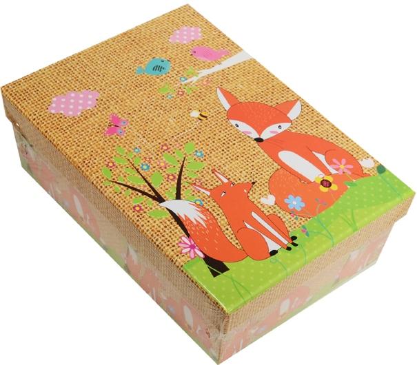"""Коробка подарочная """"Лисы"""" 18*12*7см"""