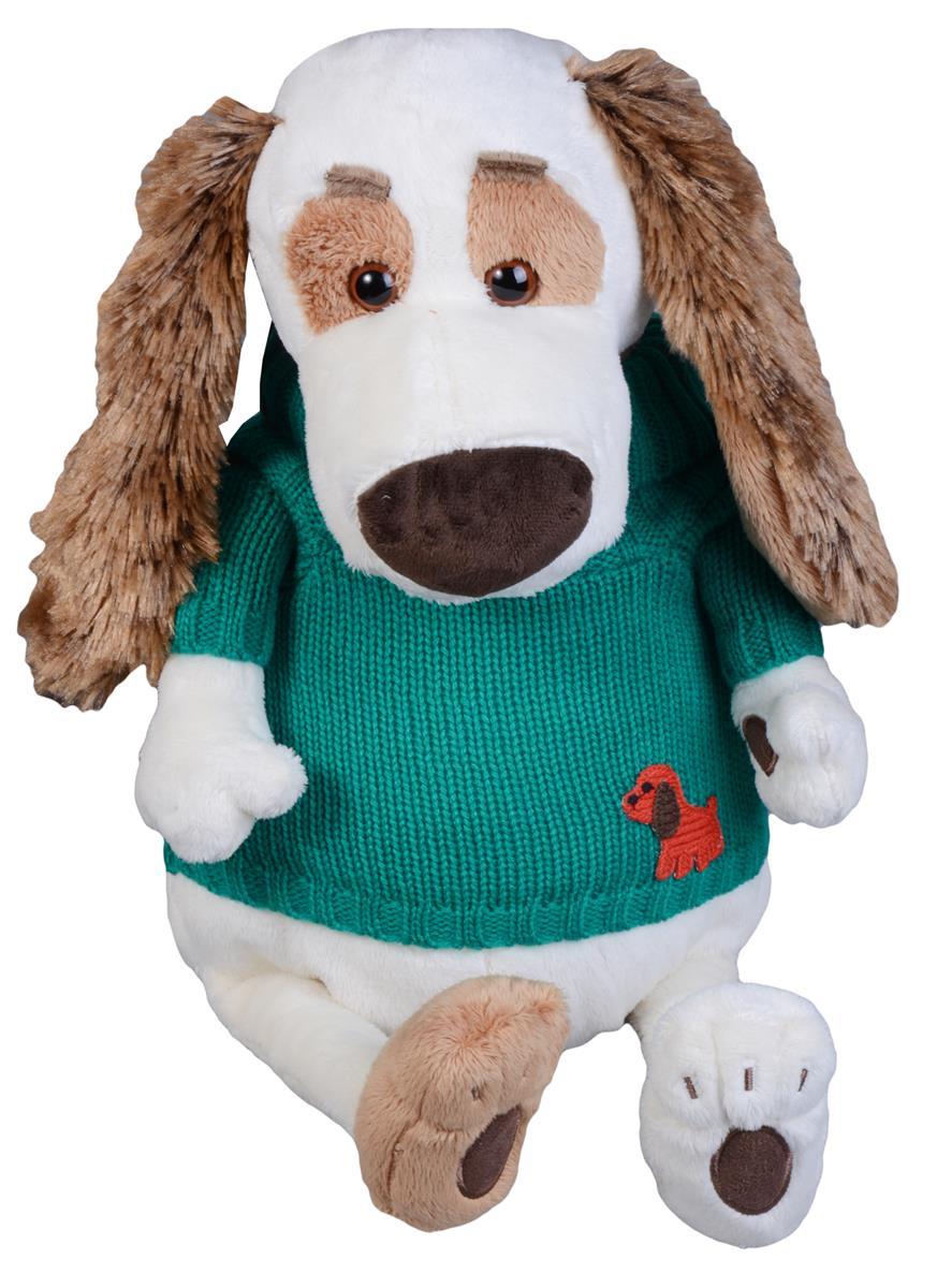 Мягкая игрушка Такса Бартоломей в зеленом свитере (33 см)