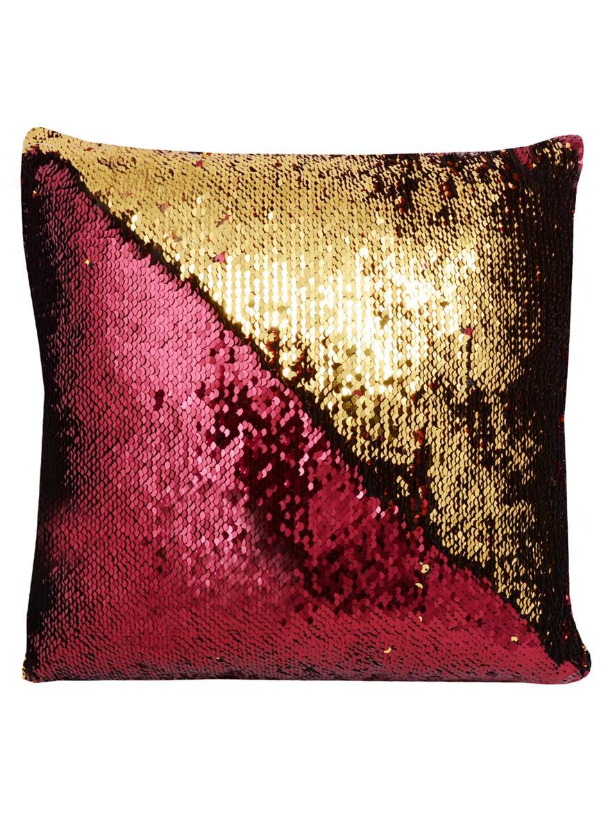 Подушка с пайетками красная с золотом (37х37)