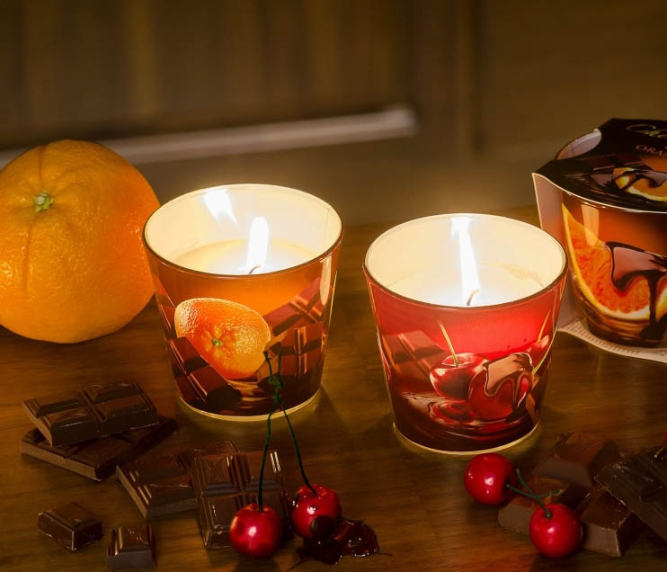 БАРТЕК СВЕЧИ  Ароматизированная свеча в стакане Фрукты в шоколаде (CHOKOLATE)