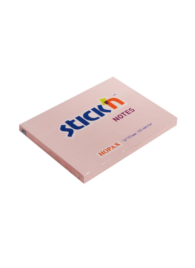 Блок бумаги 76*101 самоклеящийся розовый 100л, HOPAX