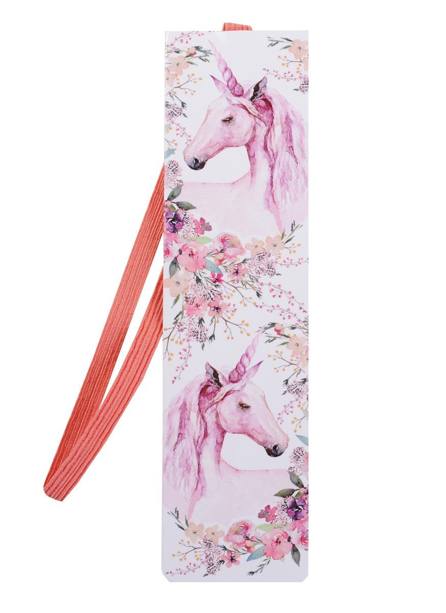 Закладки с резинкой Единороги (розовые)