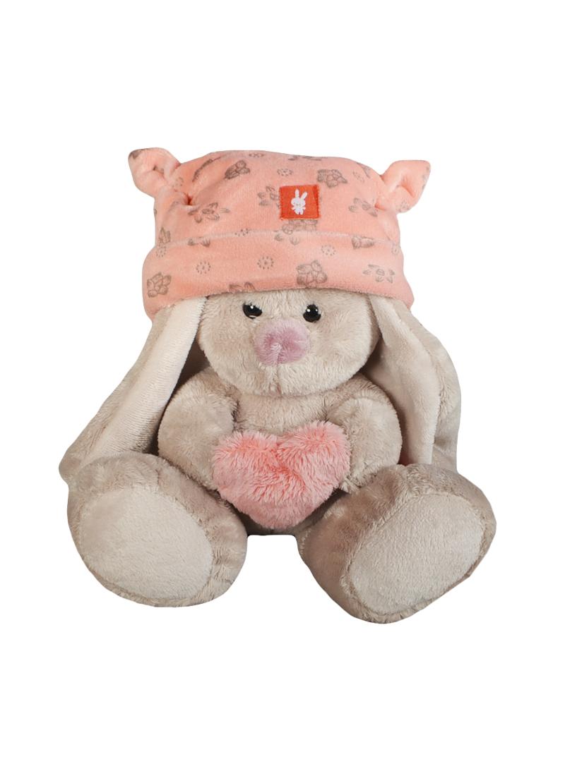 Мягкая игрушка Зайка Ми в розовой шапке с сердечком (15см) (SidXt75) (Буди Баса)