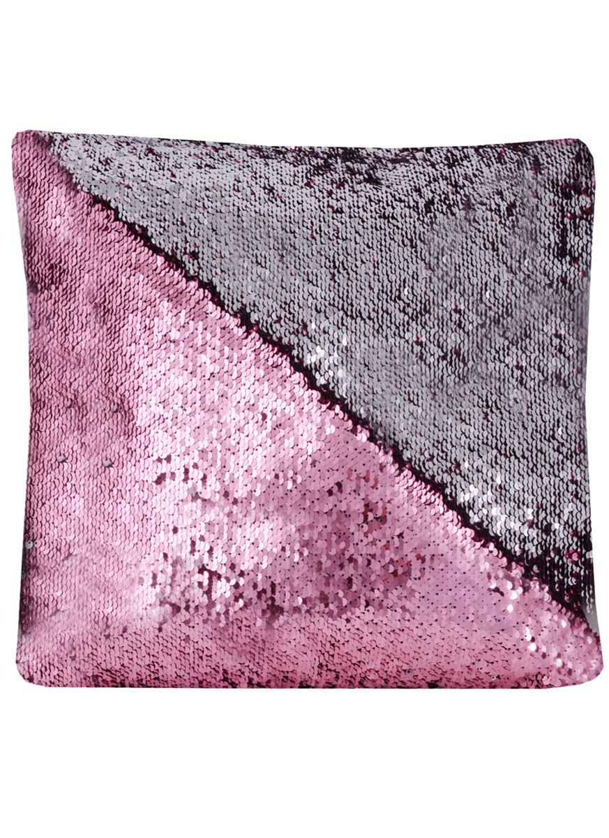 Подушка с пайетками розовая с серебром (37х37)