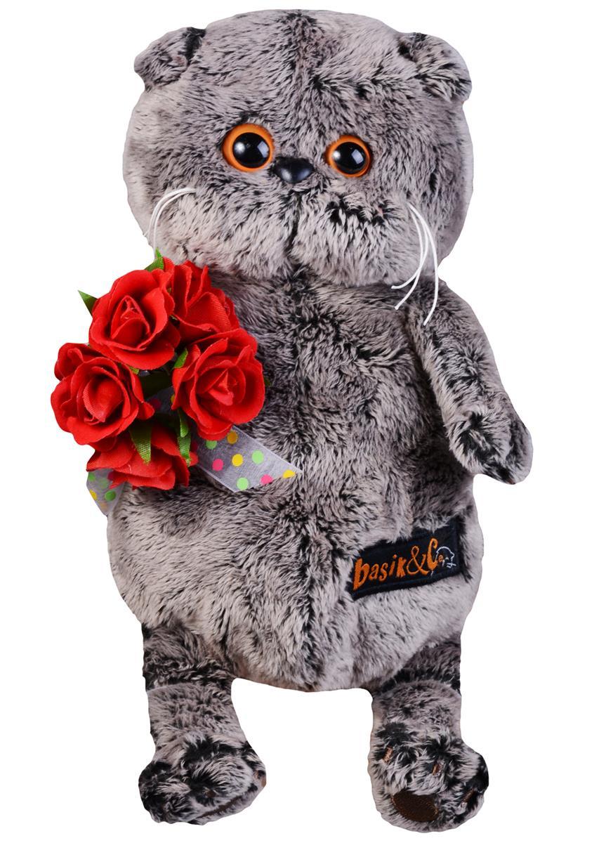 Мягкая игрушка Басик с букетом красных роз (19 см)