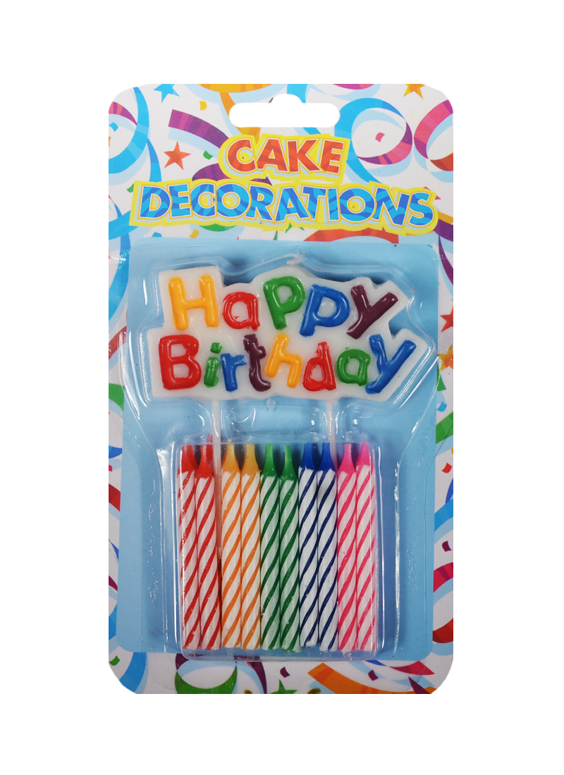 Набор свечей для торта с табличкой Happy Birthday (20шт) (6см) (HF6779)