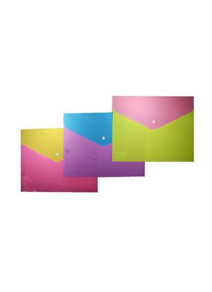 Папка-конверт А4 на кнопке, пластиковая, двухцветная