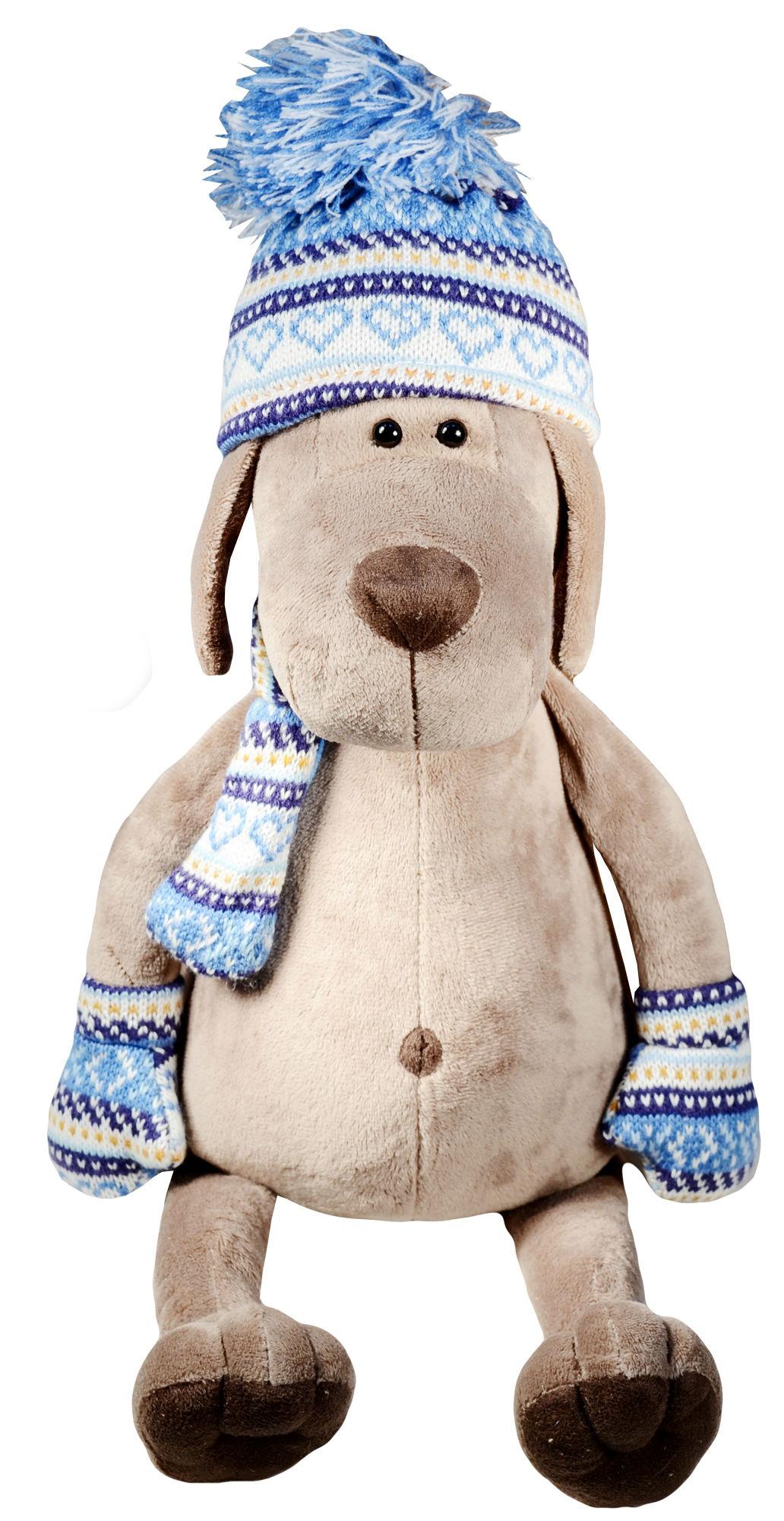 Мягкая игрушка Пёс Барбоська в шапочке (30 см)