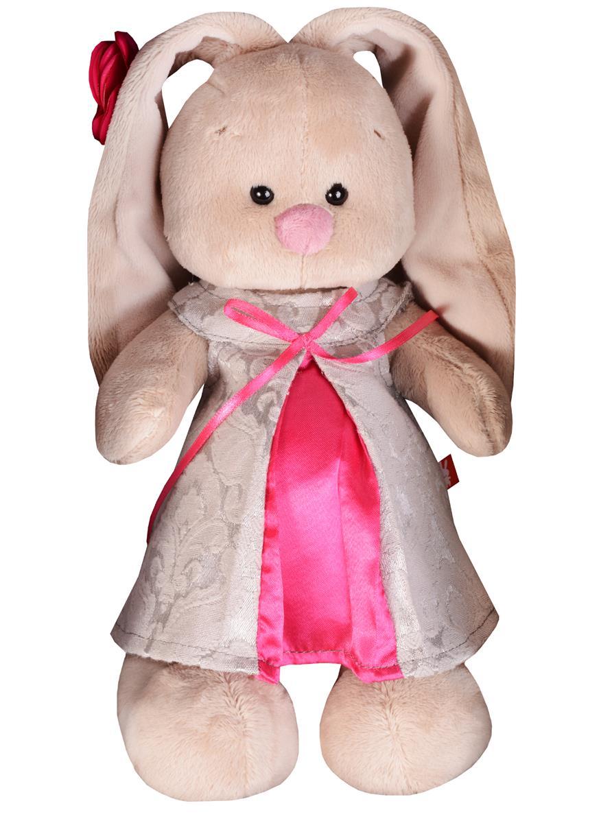 Мягкая игрушка Зайка Ми в сером платье из жаккарда (25 см)