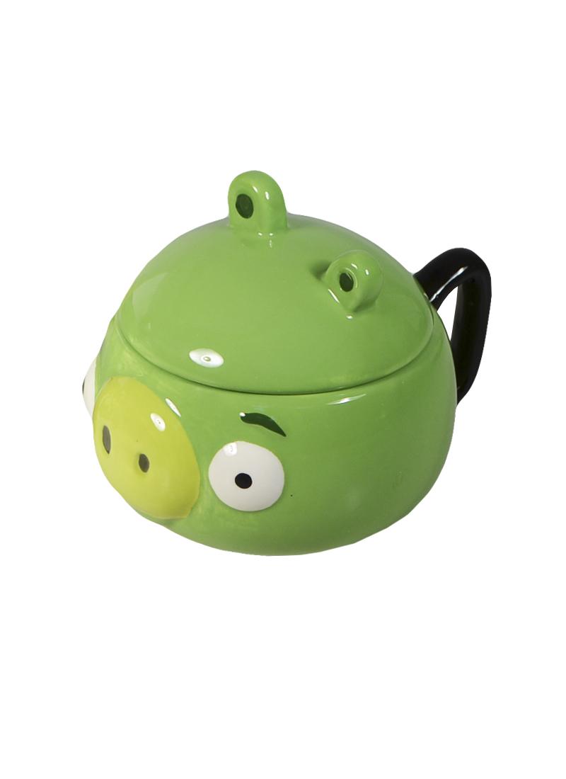 Angry Birds Кружка объемная с крышкой Зеленая свинья (доломит) (СР Дистрибуция)