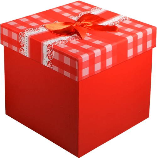 """Коробка подарочная """"Бант на красной клетке"""" 12*12*10см"""