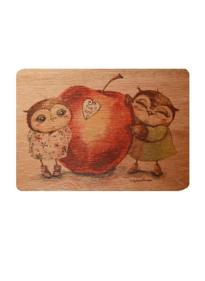 Открытка деревянная Совы с яблоком Для тебя (Инга Пальцер)