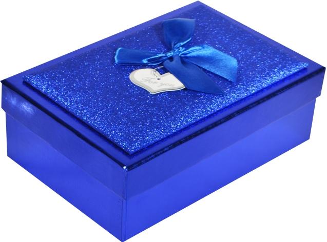 "Коробка подарочная ""Металлик синий"" 12,5*19,5*6,5см"