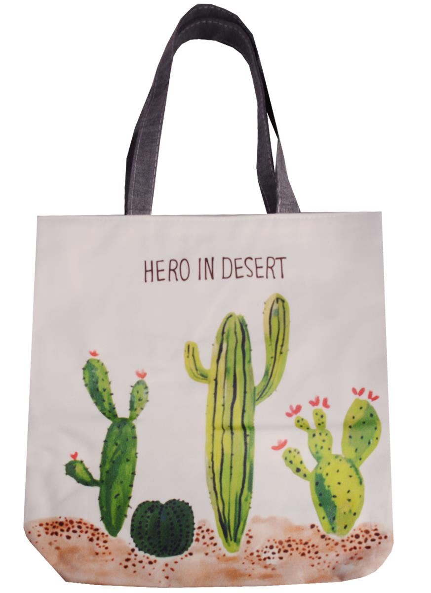 Сумка на молнии Hero in Desert (кактус) (38х35) (текстиль, флис)