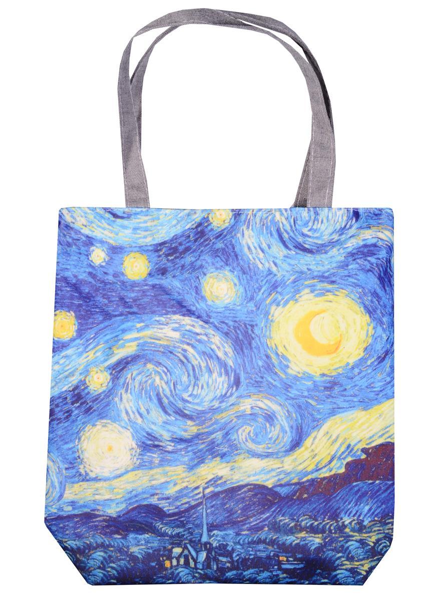 Сумка на молнии Ван Гог Звездная ночь (38х35) (текстиль, флис)