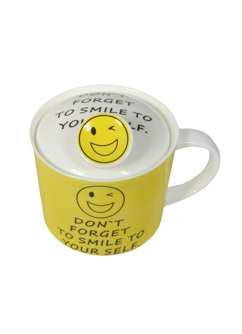 Кружка c крышкой Smile 350мл в подар.упаковке (201-111)