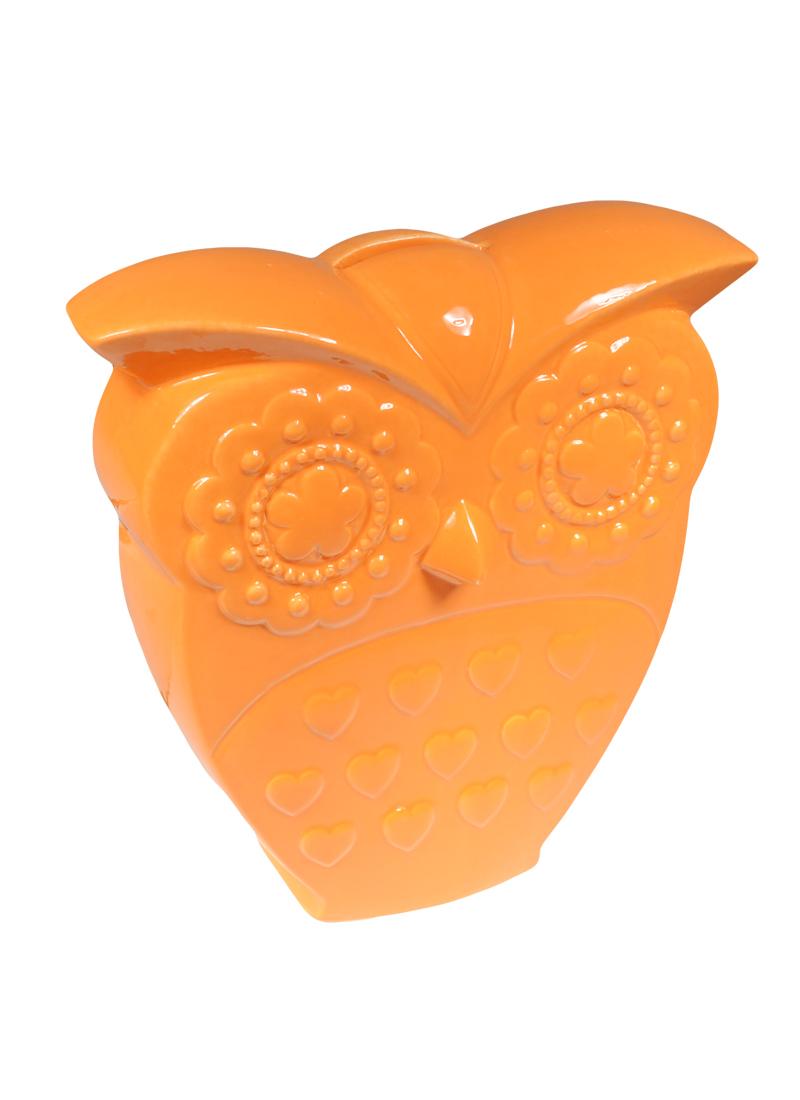 Ваза Сова оранжевая 19,8см