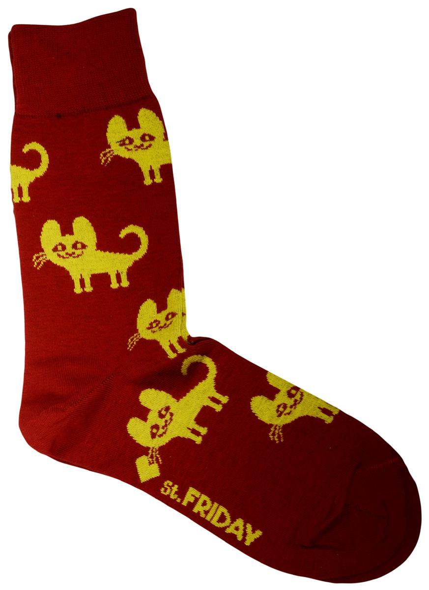 Дизайнерские носки Котята красные (размер 39-41)