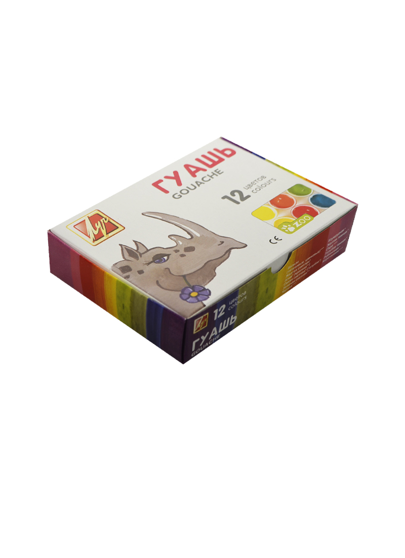 Краски гуашевые 12 цветов 15мл ZOO (