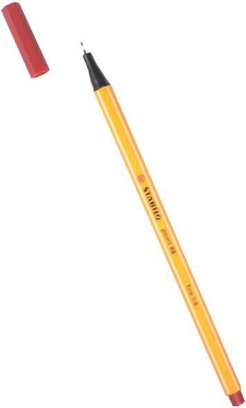 """Ручка капиллярная темно-красная """"Рoint"""" 0,4мм, STABILO"""