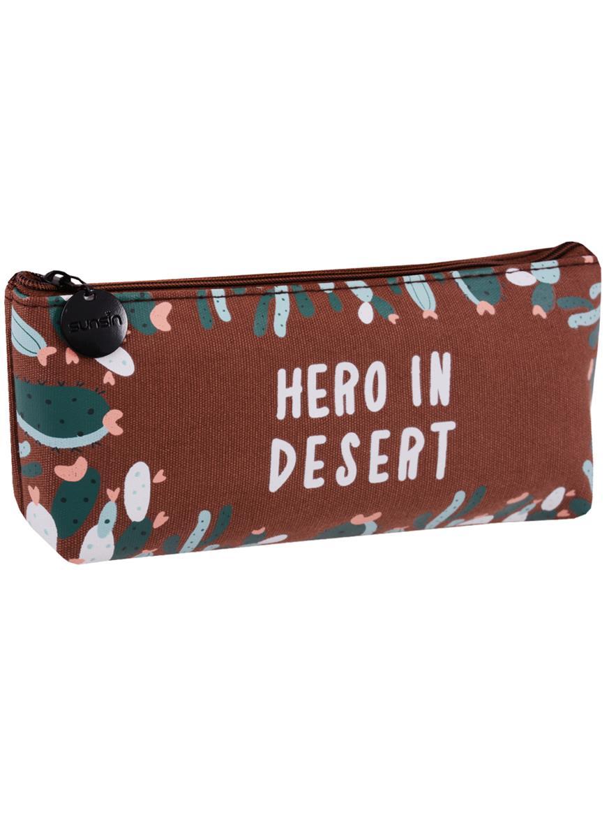 Пенал на молнии Кактусы Hero in desert (20х8) (ткань) (ПВХ бокс)