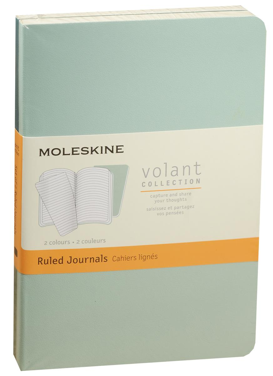 "Записная книжка А6 40л лин. ""Volant Pocket"" (2шт.) светло-зеленая/темно-зеленая, мягкая обложка, Moleskine"