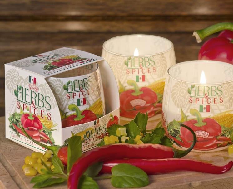 БАРТЕК СВЕЧИ  Ароматизированная свеча в стакане Пряности (Herbs & Spices)
