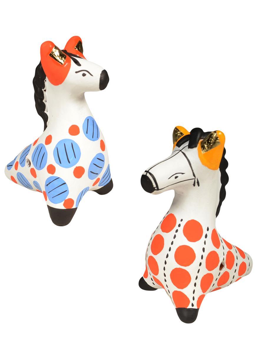 Дымковская игрушка Свистулька №2 Конь (8 см)