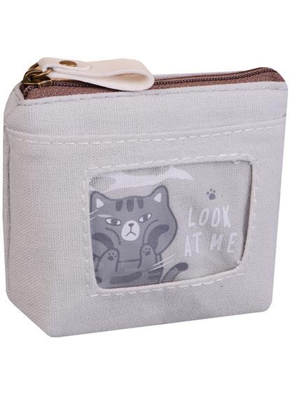 Кошелек на молнии с карманом Коты (12х10) (ткань) (ПВХ бокс)