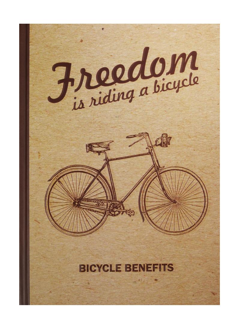 Блокнот Freedom is riding a bicycle (крафт)