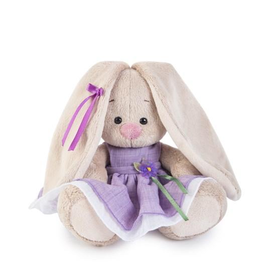 Мягкая игрушка Зайка Ми в фиолетовом платье с цветочком (15 см)