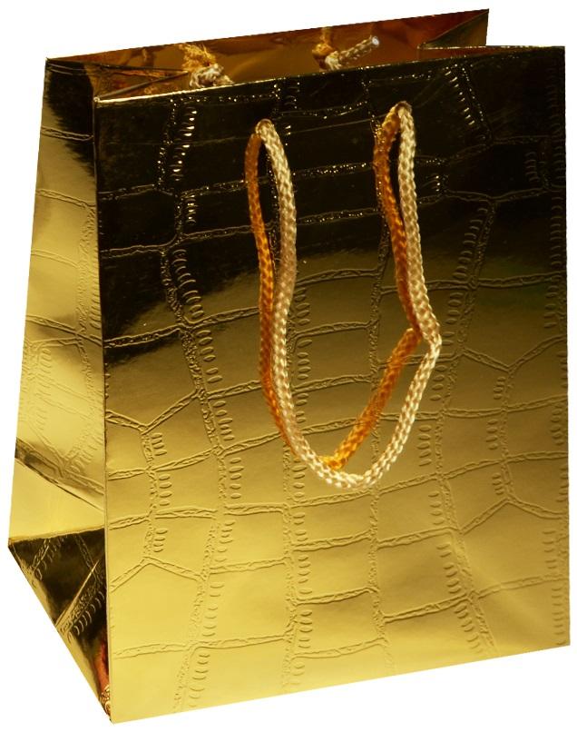 """Пакет подарочный бумажный """"Кожа"""" желтый металлик, А5"""