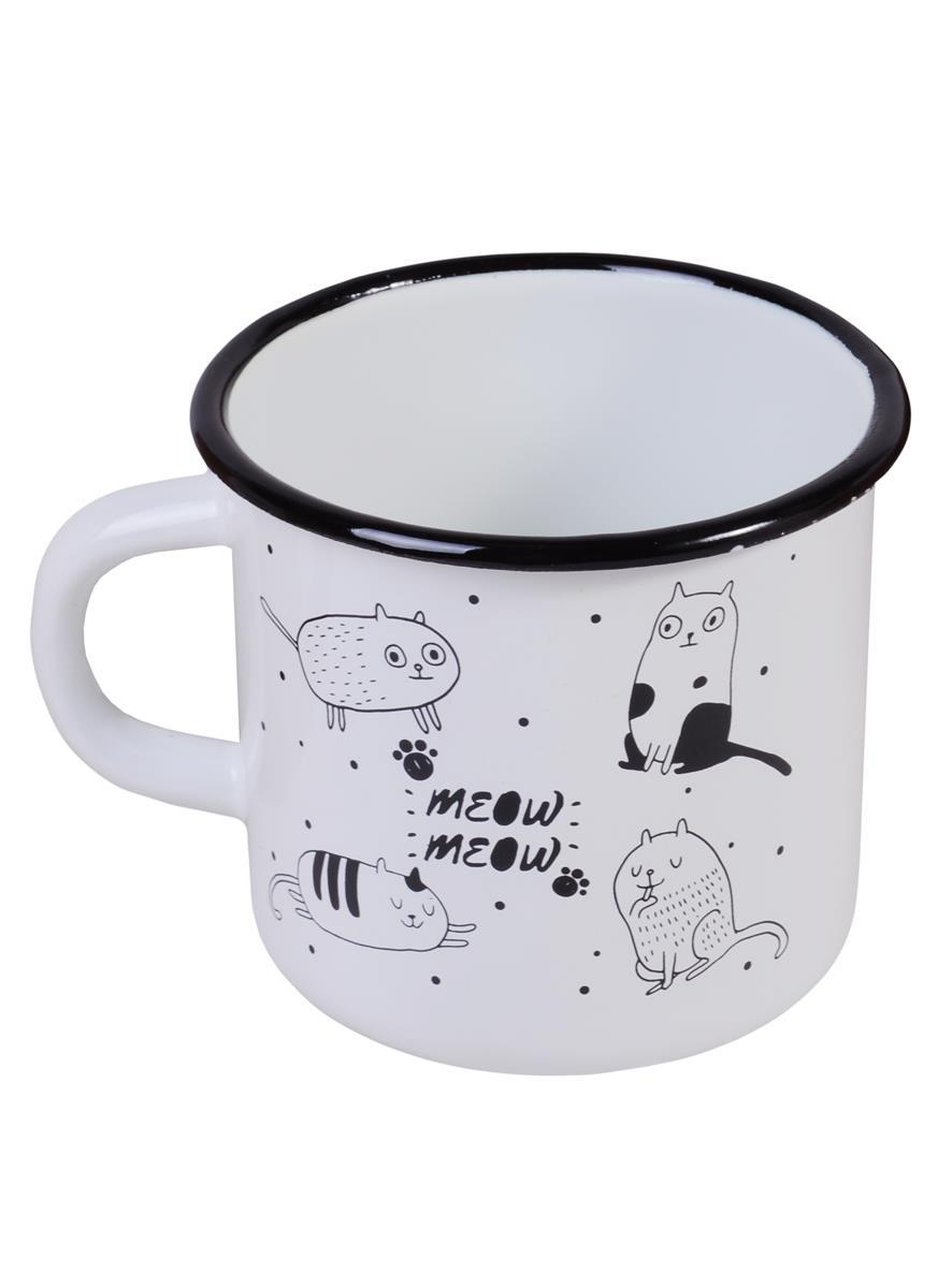 Кружка Коты meow (400 мл) (эмаль)