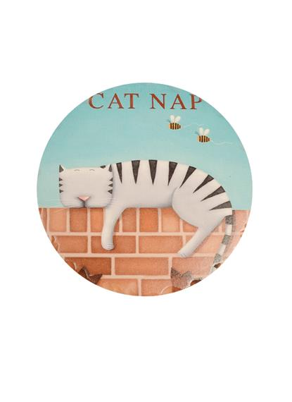 Подставка под кружку Спящий кот (круглая с рельефными краями) (11см)