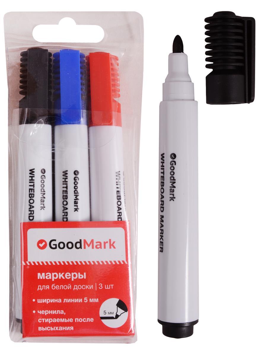 Маркеры 3 цвета для досок (красный, синий, черный) 5мм