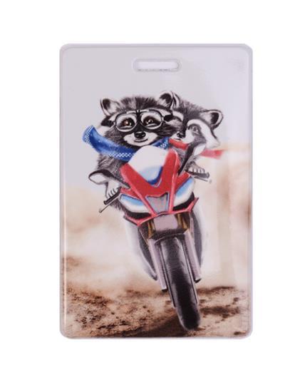 Чехол для карточек Енот на мотоцикле