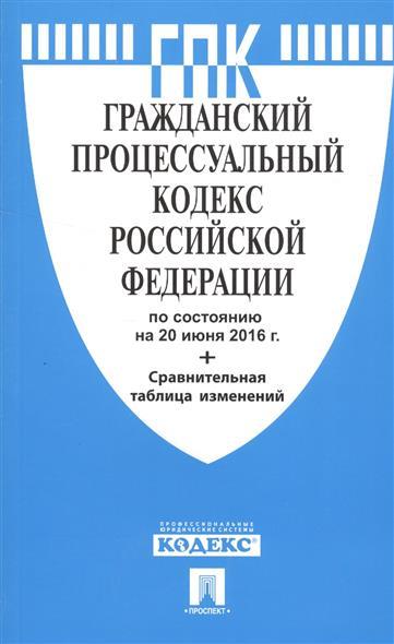 Гражданский процессуальный кодекс Российской Федерации по состоянию на 20 июня 2016 года + сравнительная таблица изменений