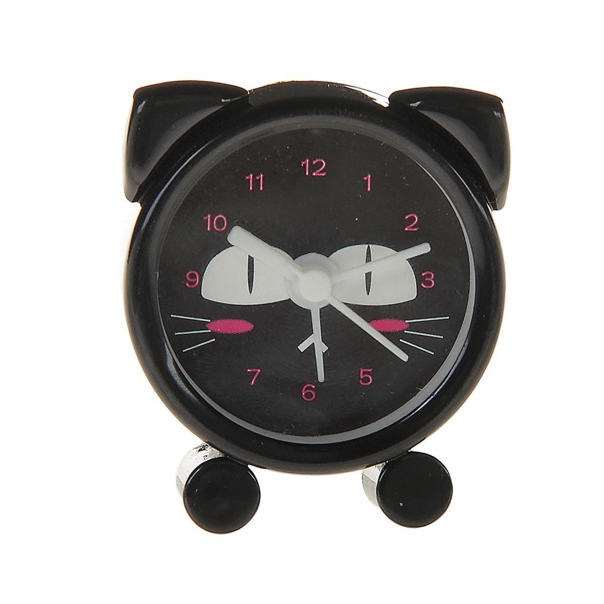 Мини-будильник Киска с ушками черный (4 см)