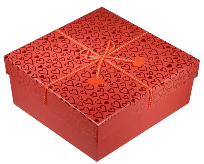 """Коробка подарочная """"Фетровые сердечки"""" 22*22*10см"""