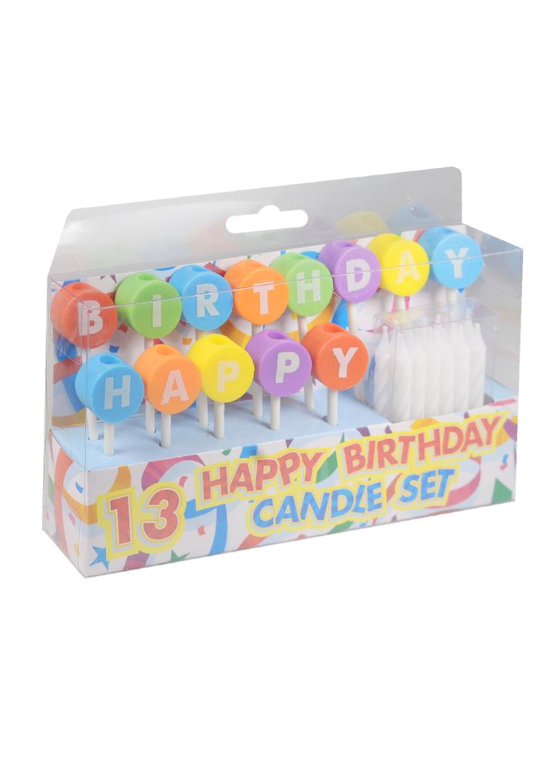 Набор свечей для торта с держателями Happy Birthday (13шт) (6см) (HF6808)