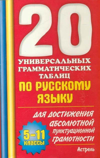 20 универсальных грамм. таблиц по рус. языку... 5-11 кл