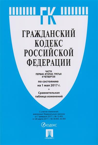 Гражданский кодекс Российской Федерации. Части первая, вторая, третья и четвертая по состоянию на 1 мая 2017 года + сравнительная таблица изменений