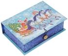 Шкатулка-книга с пуговицей картон Дед Мороз на тройке M (20х14х6)
