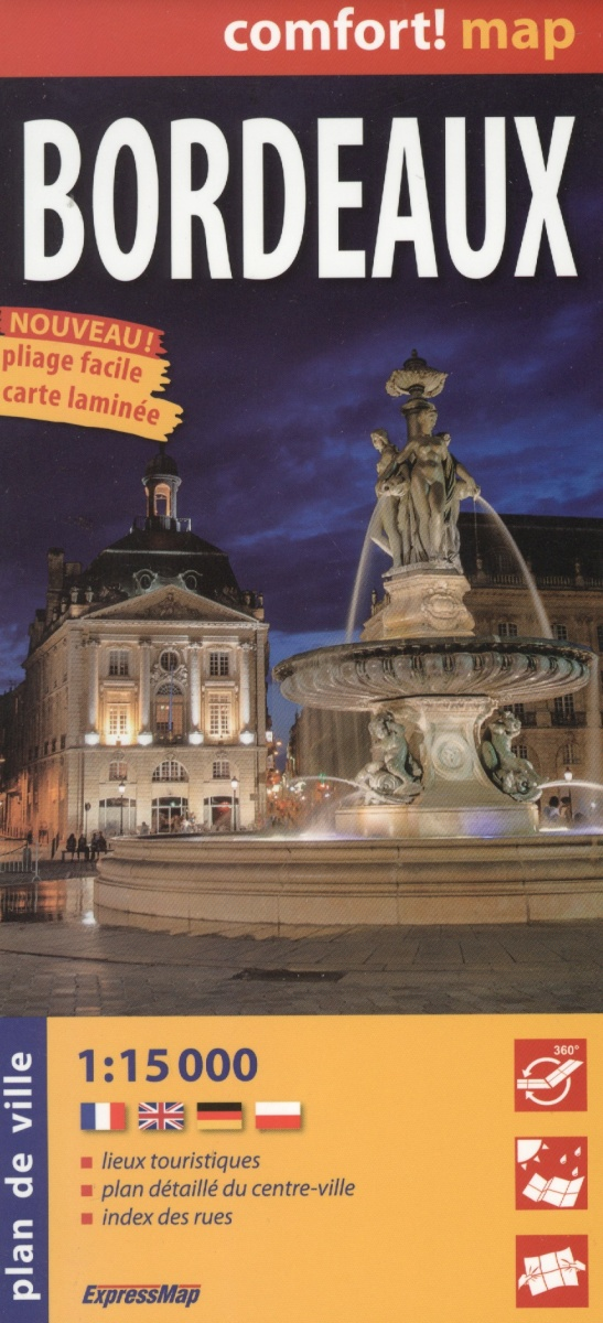 Bordeaux = Бордо. Ламинированная карта. 1:15 000 от Читай-город