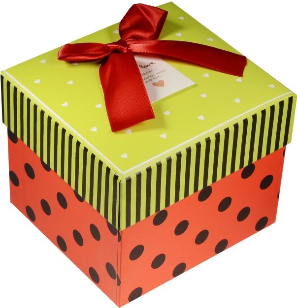 """Коробка подарочная """"Сердечки и горошек"""" зеленая крышечка 13*12*10.5см"""