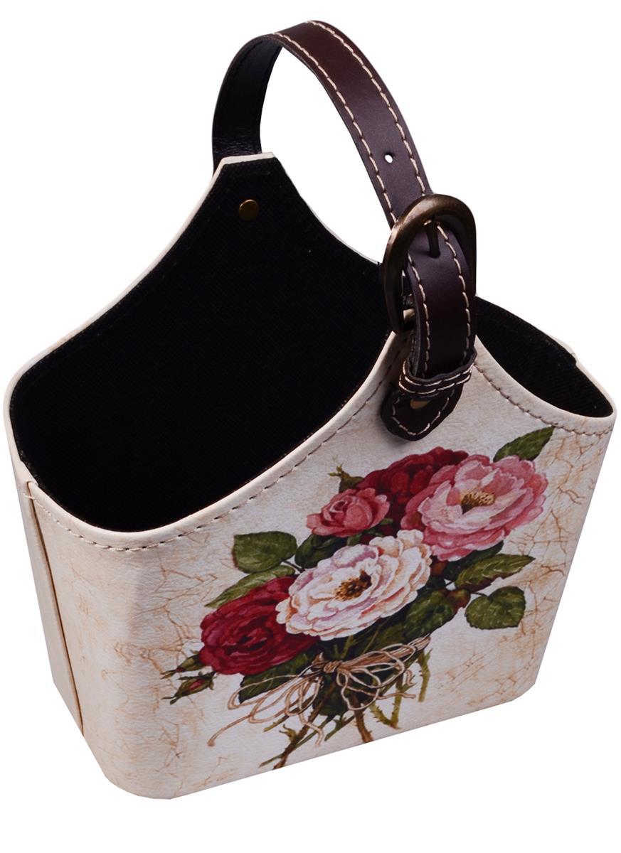 Корзинка для мелочей с ручкой Букет роз на светлом фоне (18х25)