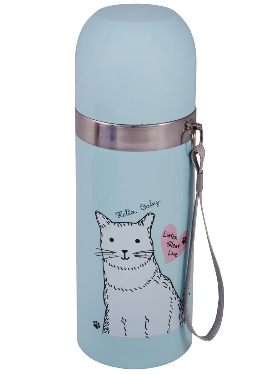 Термос Белый кот с сердцем (320мл) (металл)
