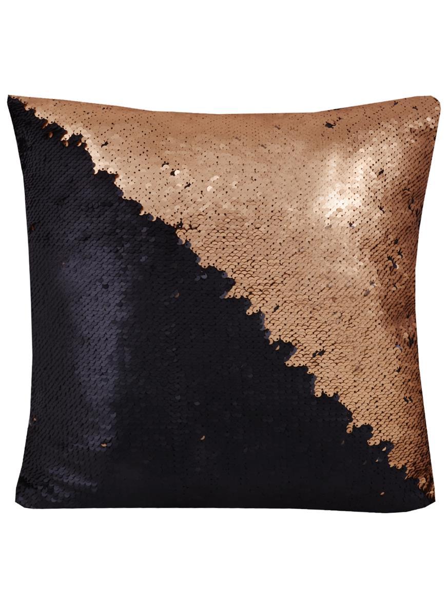 Подушка с пайетками шоколад с золотом (37х37)